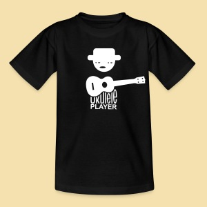 Kidshirt: Ukulele Player (Motiv: weiß / vorne) - Teenager T-Shirt