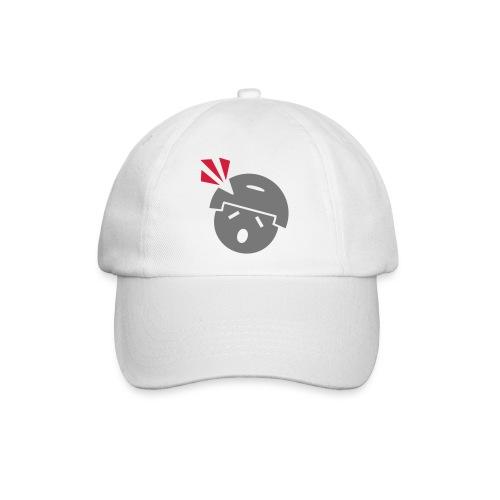 Headshot Maggot, weiße Baseballkappe, Aufdruck in Grau/Rot - Baseballkappe