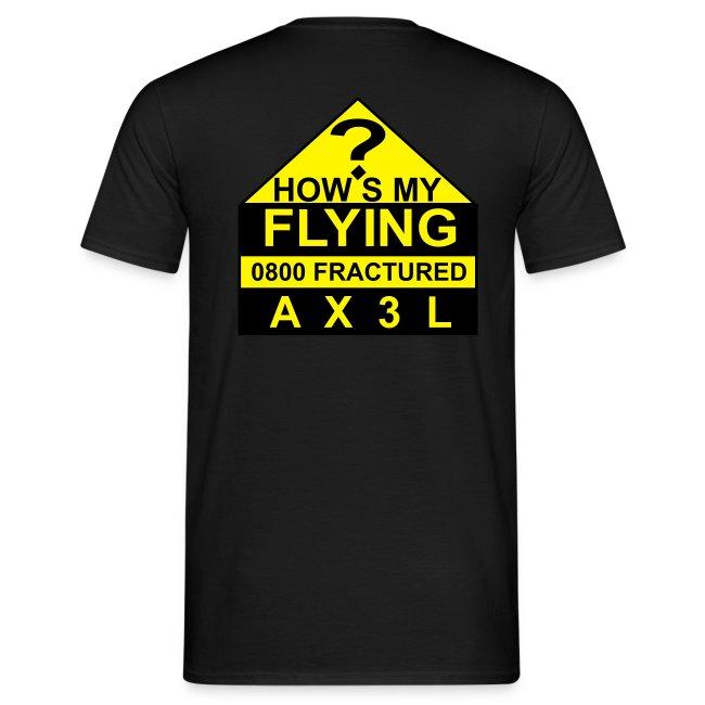 How's My Flying - men's black T