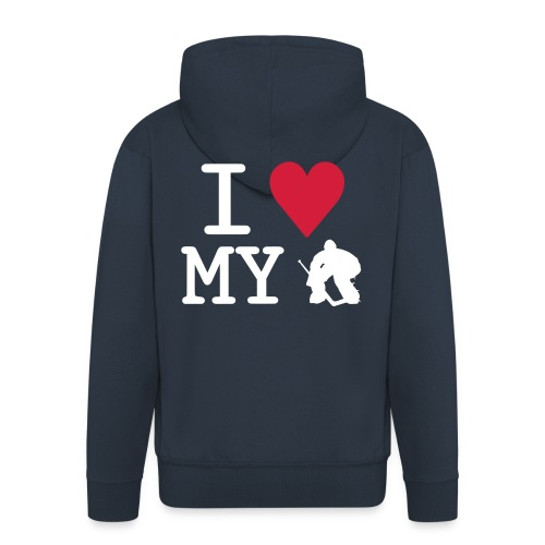 'I Love My Goalie' Men's Jacket - Men's Premium Hooded Jacket