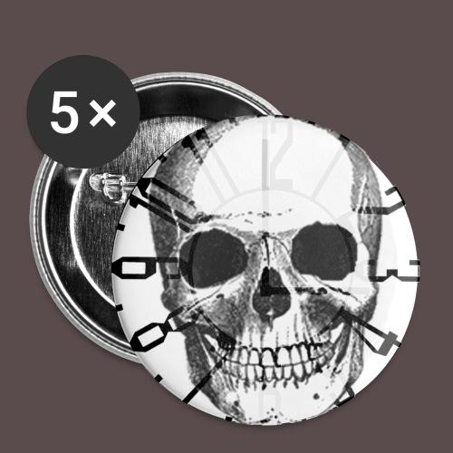 Button 25mm (Skull-Uhr) - Buttons klein 25 mm