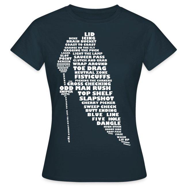 Hockey Player Typography Women's T-shirt (white print)