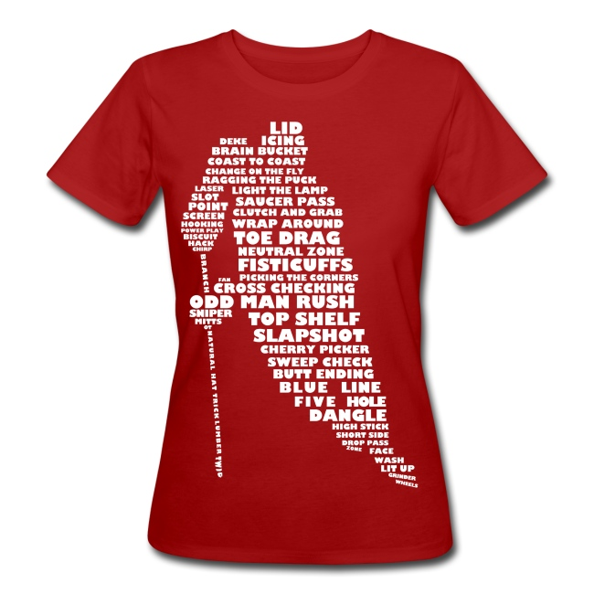 Hockey Player Typography Women's Organic T-Shirt (white print)