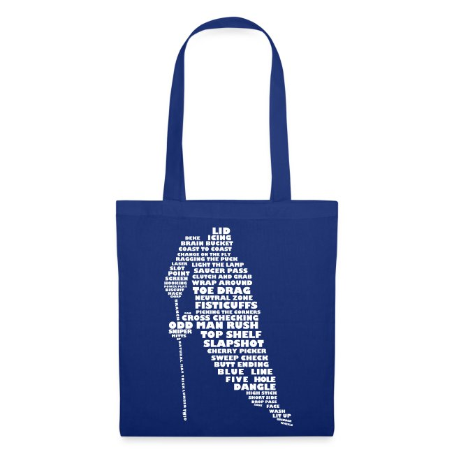 Hockey Player Typography Tote Bag (white print)