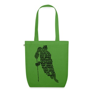 Hockey Player Typography Organic Tote Bag (black print) - EarthPositive Tote Bag