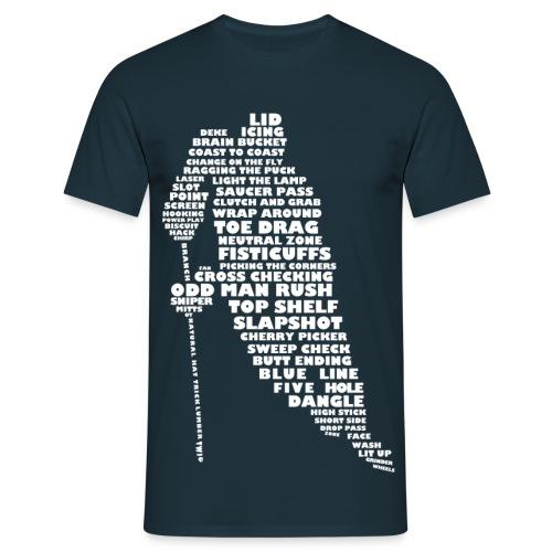 Hockey Player Typography Men's T-Shirt (white print) - Men's T-Shirt