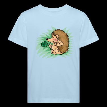 Il riccio po 'con la foglia di trifoglio T-shirt bambini