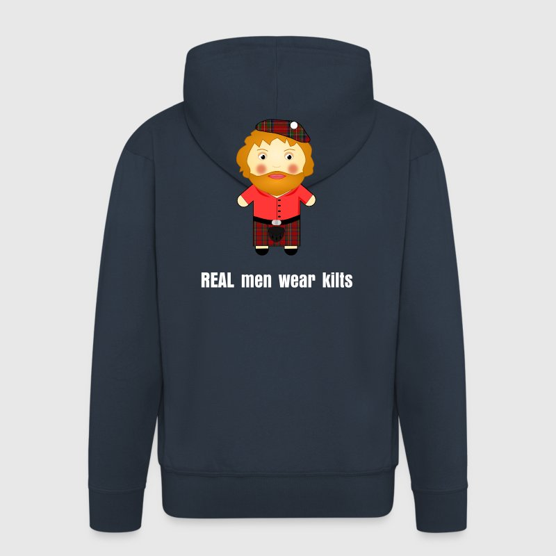 REAL men wear kilts! Funny Scottish Hoodie - Men's Premium Hooded Jacket