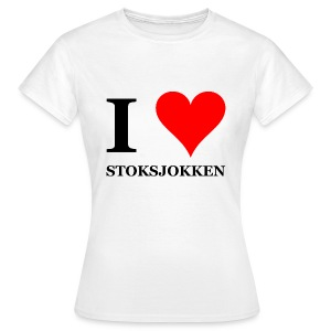 Gronings dames T-shirt I love stoksjokken / Nordic Walking - Vrouwen T-shirt