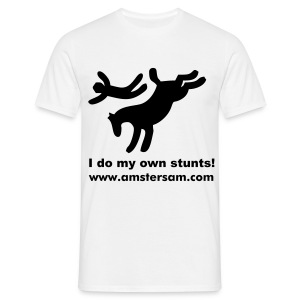 Men's Classic T-Shirt 'I do my own stunts!' White/Black - Men's T-Shirt