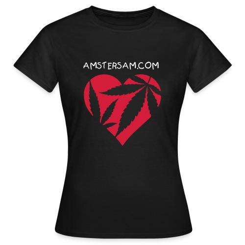Women's Classic T-Shirt 'Ganja Love' Black/Red - Women's T-Shirt