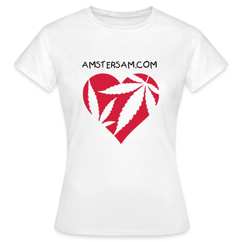 Women's Classic T-Shirt 'Ganja Love' White/Red - Women's T-Shirt