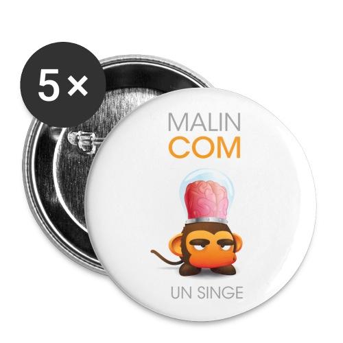 BADGE malin comme un singe - Lot de 5 moyens badges (32 mm)