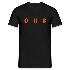 onehotsounds black t-shirt with orange writing - Men's T-Shirt
