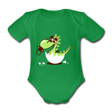 A small dragon baby with pacifier Baby Bodysuits