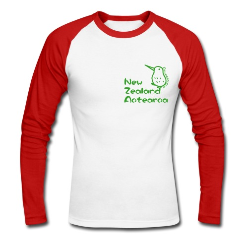 New Zealand's Map - Men's Long Sleeve Baseball T-Shirt