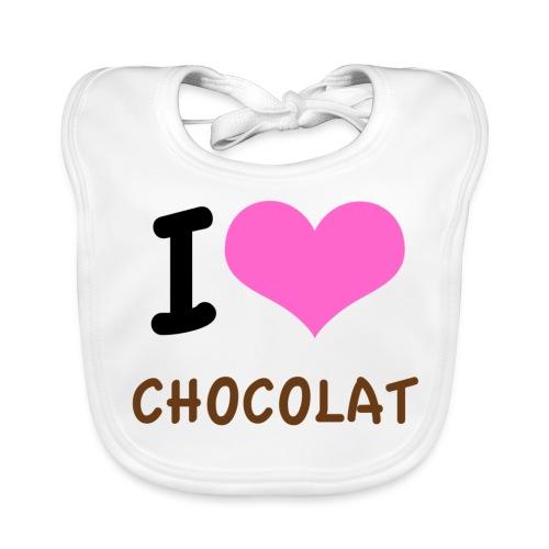 I love chocolat coeur rose - Bavoir bio Bébé