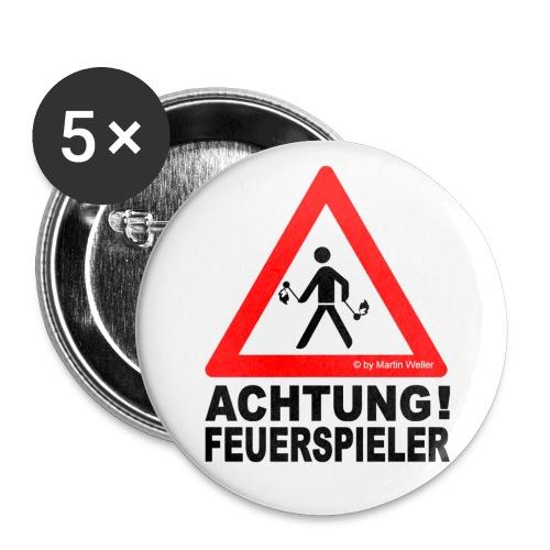 5 Buttons FEUERSPIELER (groß) - Buttons groß 56 mm