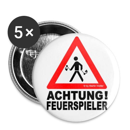 5 Buttons FEUERSPIELER (klein) - Buttons klein 25 mm