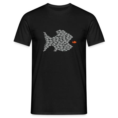 shirt t-shirt fisch fische schwarm angler angeln demokratie fressen evolution beute räuber jagd jäger tier shirt t-shirt tiere - Männer T-Shirt
