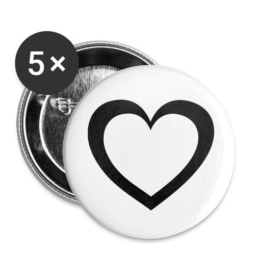 Herz - Buttons klein 25 mm (5er Pack)