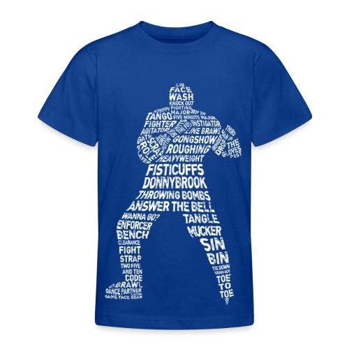 Hockey Enforcer Typography Children's T-Shirt (white print) - Teenage T-Shirt