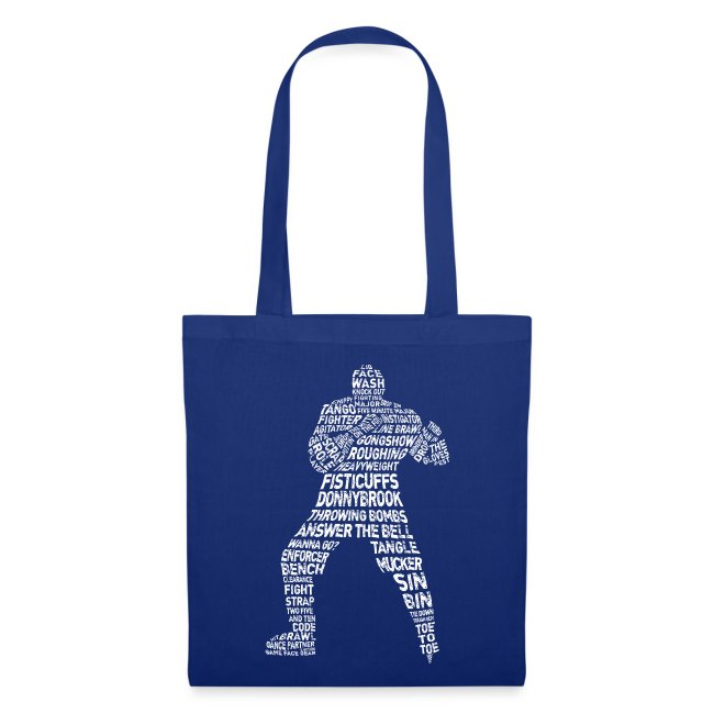 Hockey Enforcer Typography Tote Bag (white print)