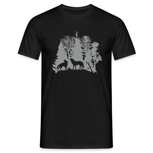 shirt t-shirt wolf rudel raubtier alphatier wald natur bäume jagd jäger - Männer T-Shirt