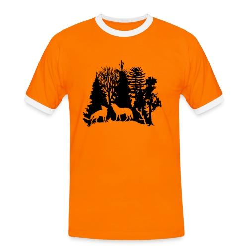 shirt t-shirt wolf rudel raubtier alphatier wald natur bäume jagd jäger - Männer Kontrast-T-Shirt