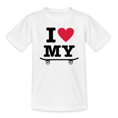 White Skateboard - I love my skateboard - I heart my skateboard Kids' Shirts