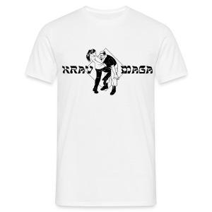Krav Maga - Woman kicking Man (white) - Männer T-Shirt