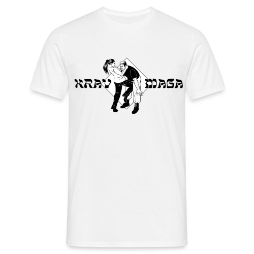 Krav Maga - Woman kicking Man (white) - Männer T-Shirt