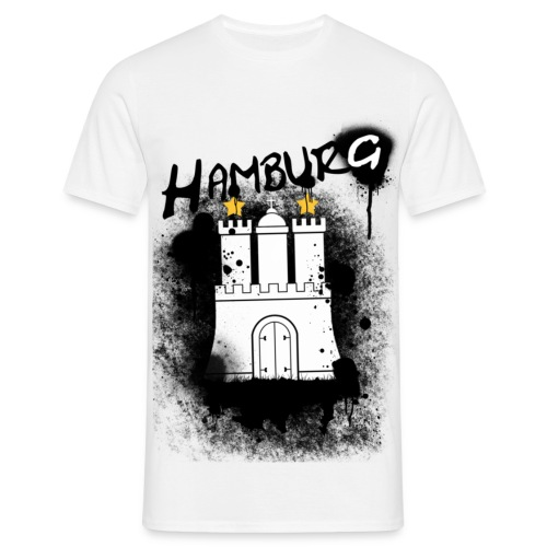 Männer T-Shirt - white,wasser,stars,spray,hh,hafen,graffiti,elbe,black,anker,Hamburg,040