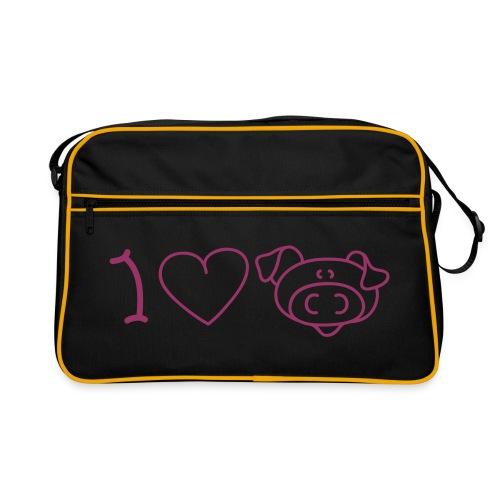 Sac J'aime le porc (motif couleur rouge pailleté) - Sac Retro