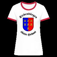 T-Shirts ~ Frauen Kontrast-T-Shirt ~ T-Shirt 'Siebenbürgen suesse Heimat' - Wappen der Siebenbürger Sachsen