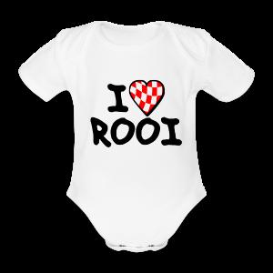 Rompertje: I love rooi ( voor echte rooise baby's ) - Baby bio-rompertje met korte mouwen