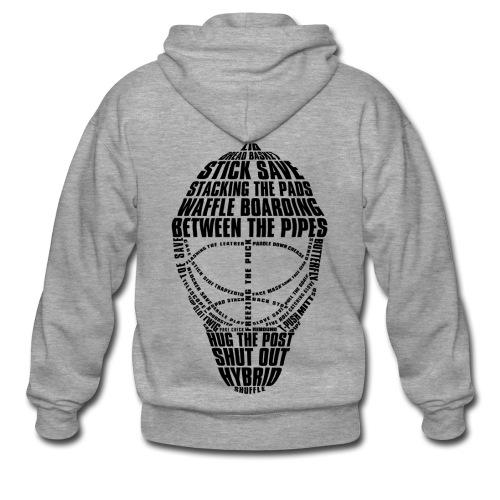 Hockey Goalie Mask Typography Men's Hooded Jacket - Men's Premium Hooded Jacket