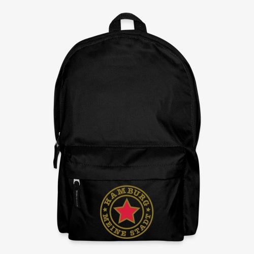HAMBURG MEINE STADT Stern Star HH Rucksack schwarz rot gold - Rucksack