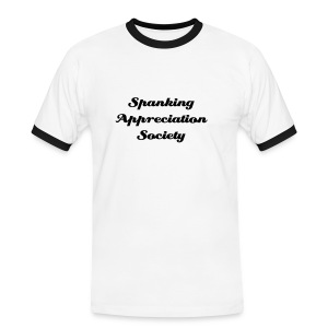 Spanking Appreiation Society Mens White/Black T Shirt - Men's Ringer Shirt