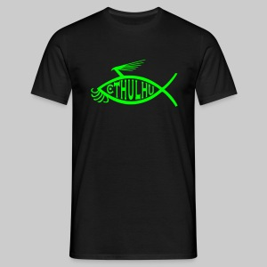 MTE1: Cthulhu-Fish-Emblem (monochrome) - Men's T-Shirt