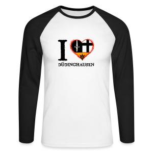 Männer langärml. Baseballshirt: I love - gekrikelt - Männer Baseballshirt langarm