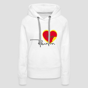 Sweatshirt à capuche Femme I love Réunion Rastafarie - Sweat-shirt à capuche Premium pour femmes