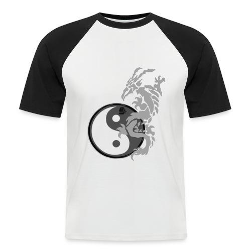 tshirt dragon tribal 001 gris - T-shirt baseball manches courtes Homme
