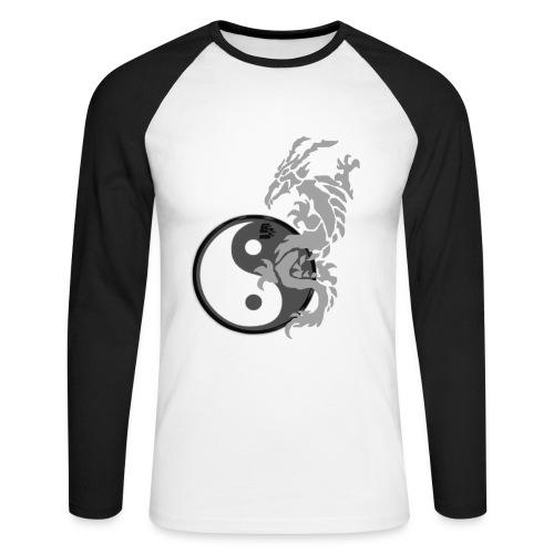tshirt dragon tribal 001 gris - T-shirt baseball manches longues Homme