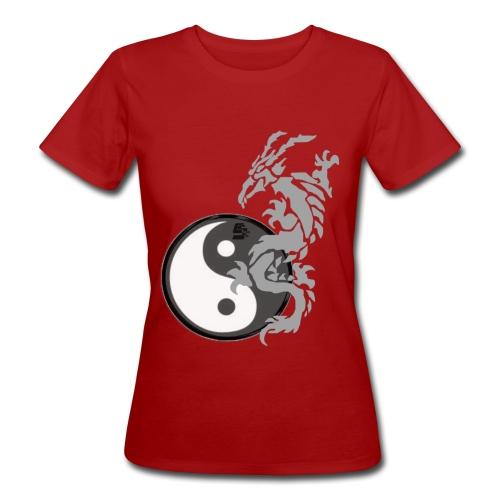 tshirt dragon tribal 001 gris - T-shirt bio Femme