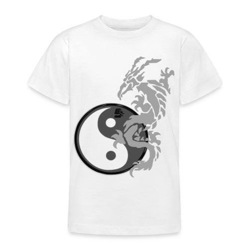tshirt dragon tribal 001 gris - T-shirt Ado