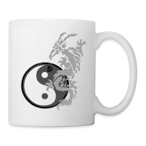 tshirt dragon tribal 001 gris - Mug blanc