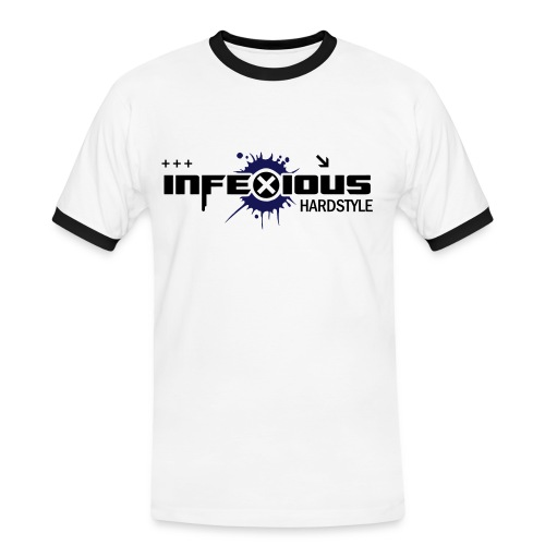 Infexious Hardstyle (White, Black & Blue )Men's Contrast T-Shirt - Men's Ringer Shirt