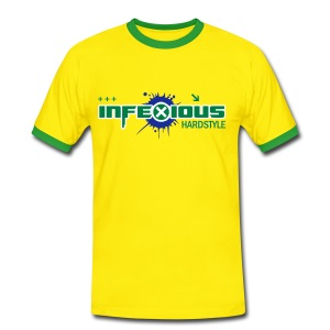 Infexious Hardstyle (Yellow & Green Logo) Men's Contrast T-Shirt - Men's Ringer Shirt