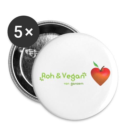 Roh & vegan von ganzem Herzen (Rohkost Vegan) - Buttons mittel 32 mm